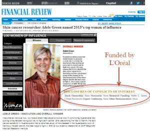 Adele Green-Top-influencer-2013-Conflict-of-interest